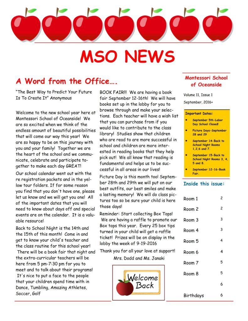 MSO September 2016 Newsletter. A Word from the Office