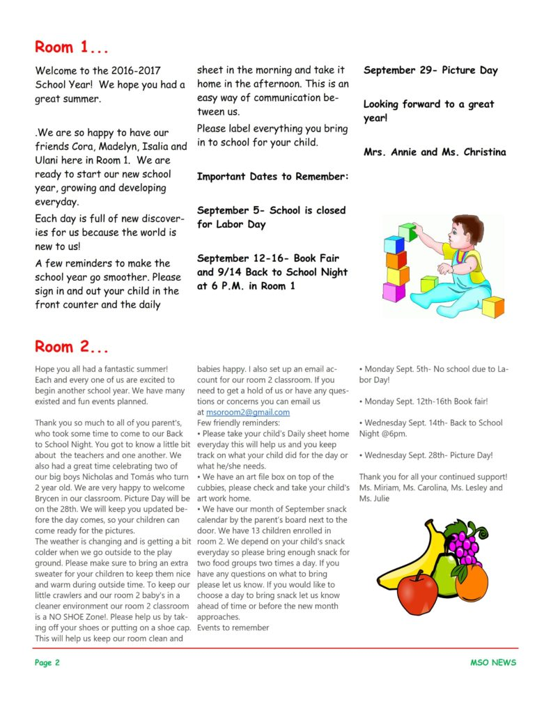 MSO September 2016 Newsletter. Room 1 and Room 2