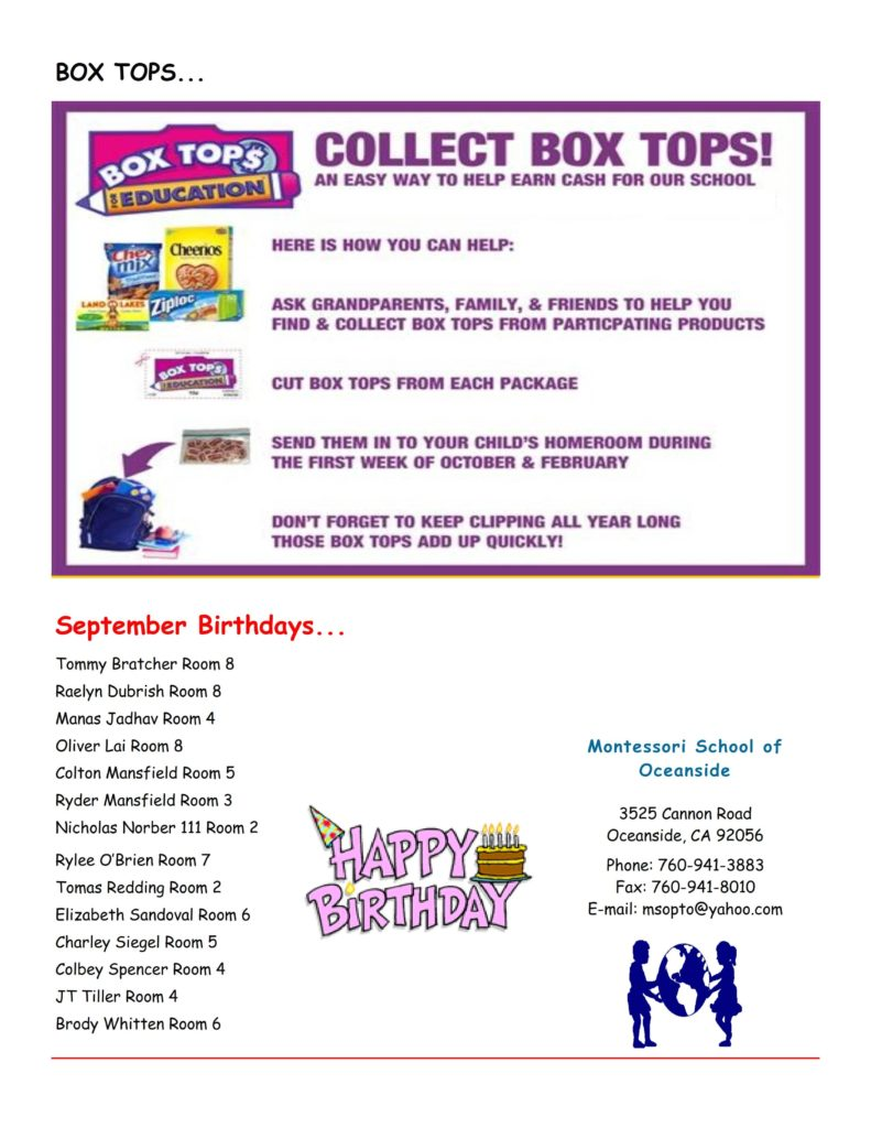 MSO September 2016 Newsletter. Box Tops for Education
