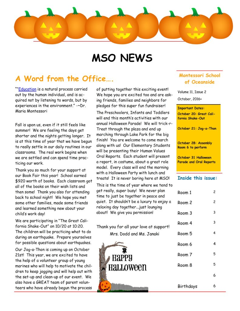 MSO October 2016 Newsletter. A Word from the Office
