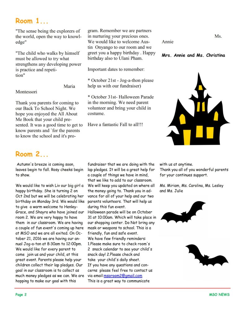 MSO October 2016 Newsletter. Room 1 and Room 2