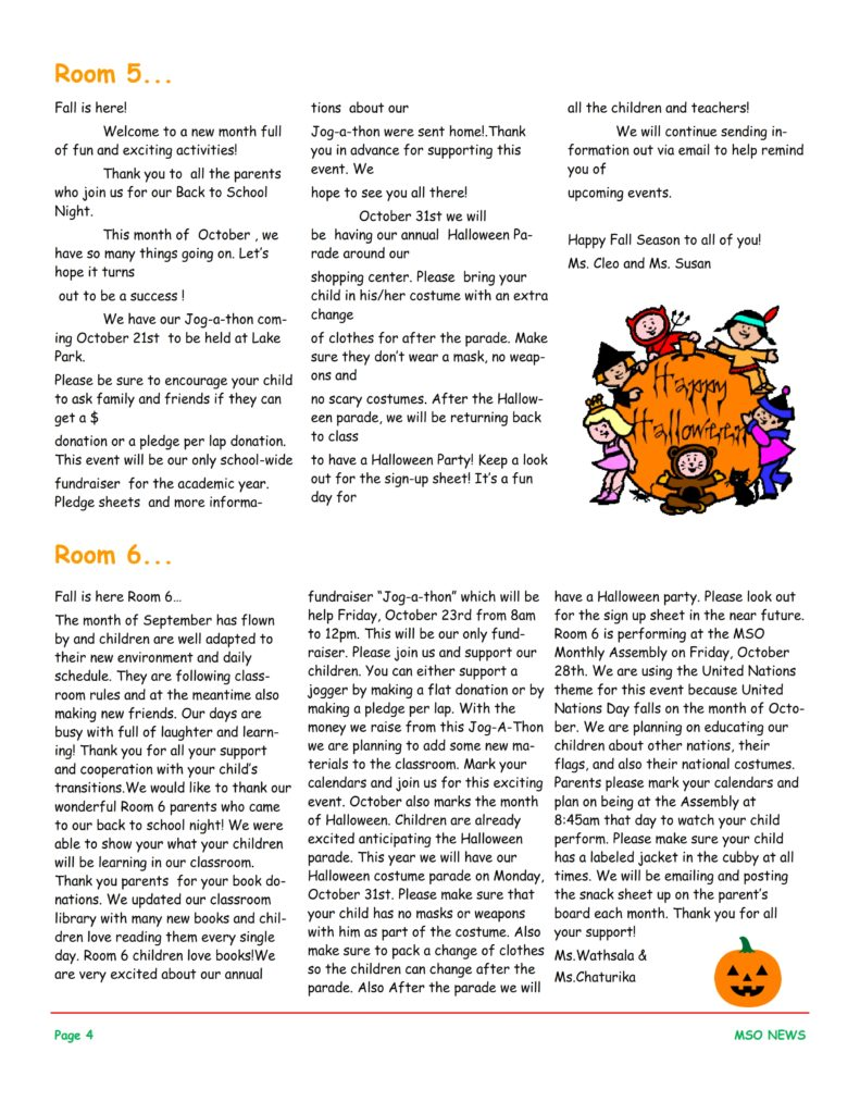 MSO October 2016 Newsletter. Room 5 and Room 6