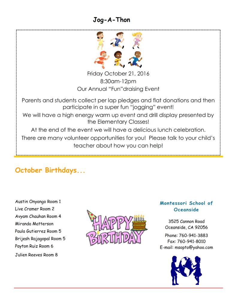 MSO October 2016 Newsletter. Jog-a-Thon