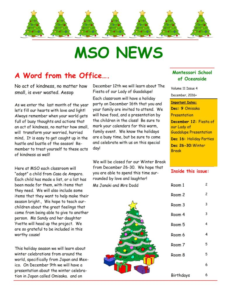 MSO December 2016 Newsletter. A Word from the Office