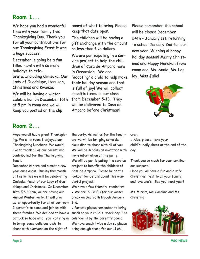 MSO December 2016 Newsletter. Room 1 and Room 2