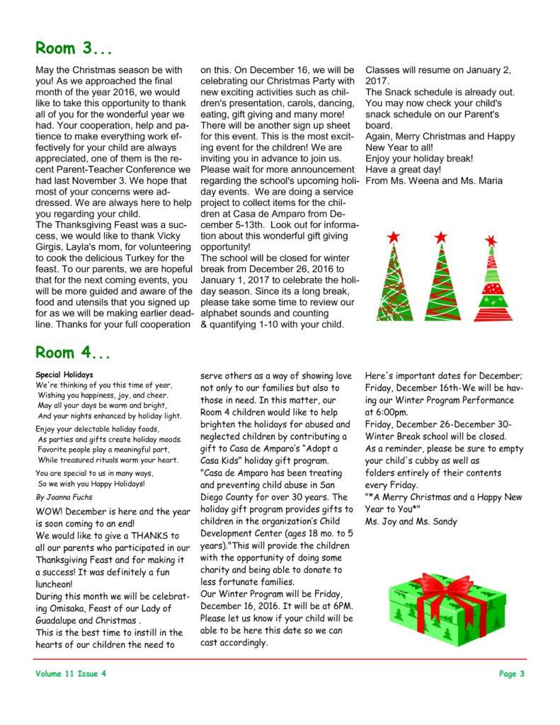 MSO December 2016 Newsletter. Room 3 and Room 4