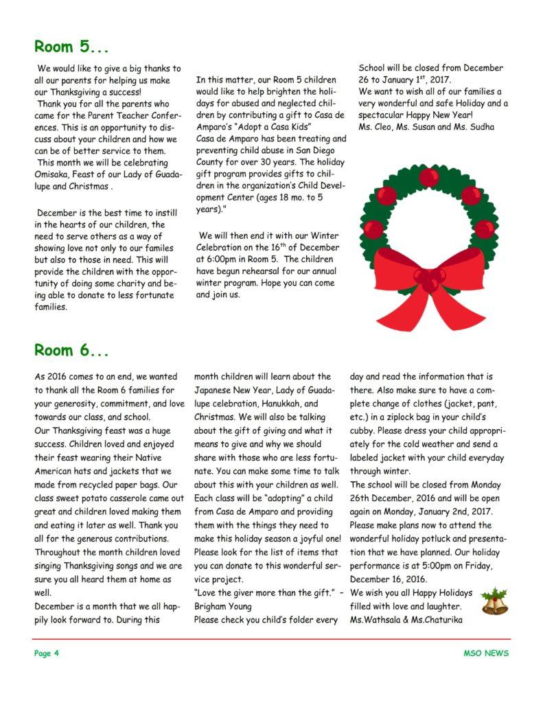 MSO December 2016 Newsletter. Room 5 and Room 6
