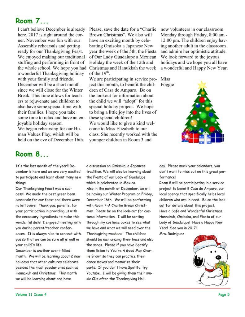 MSO December 2016 Newsletter. Room 7 and Room 8