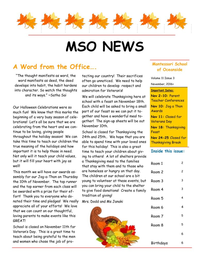 MSO November 2016 Newsletter. A Word from the Office