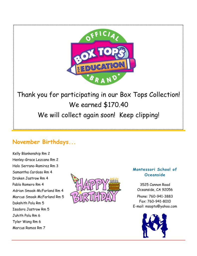MSO November 2016 Newsletter. Box Tops for Education