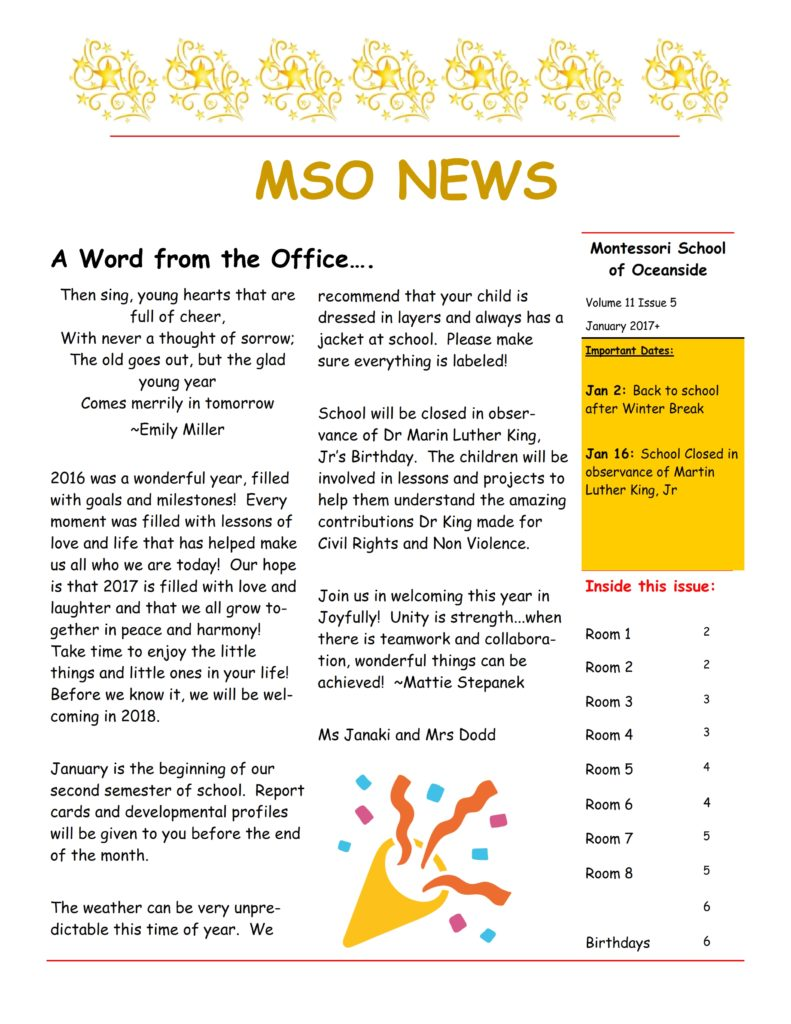 MSO January 2017 Newsletter. A Word from the Office