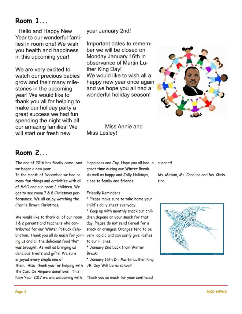 MSO January 2017 Newsletter. Room 1 and Room 2