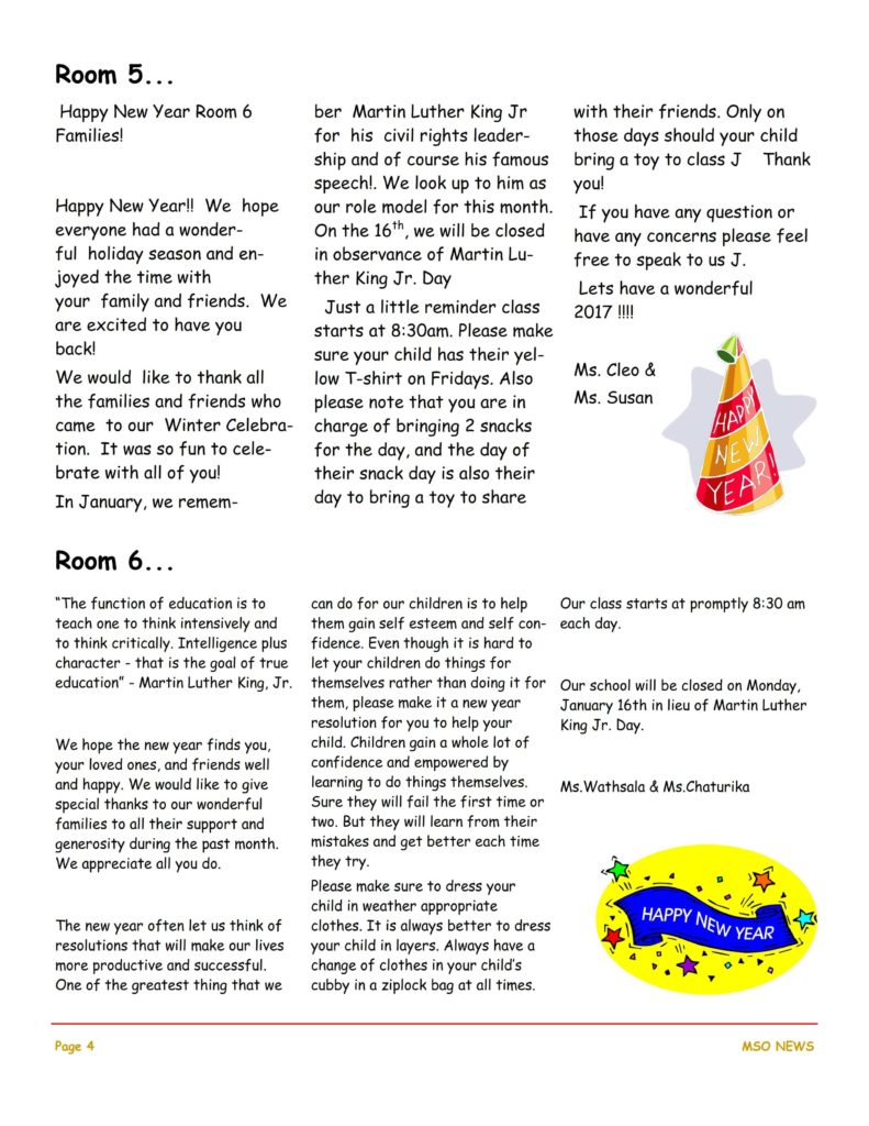 MSO January 2017 Newsletter. Room 5 and Room 6