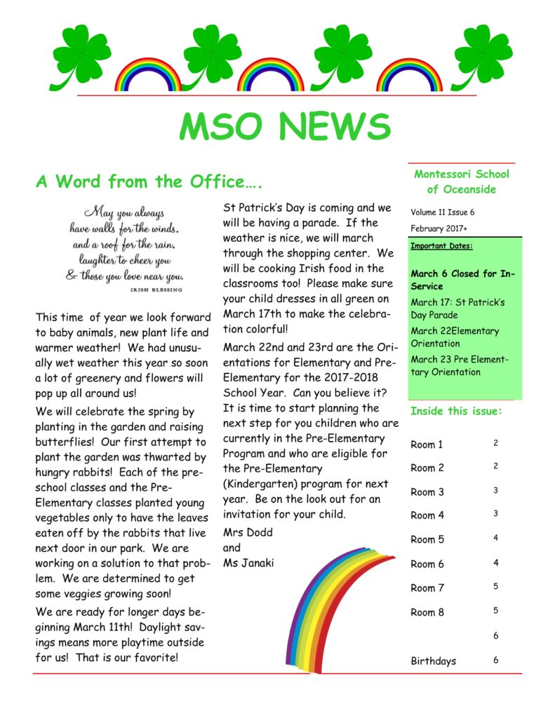 MSO March 2017 Newsletter. A Word from the Office