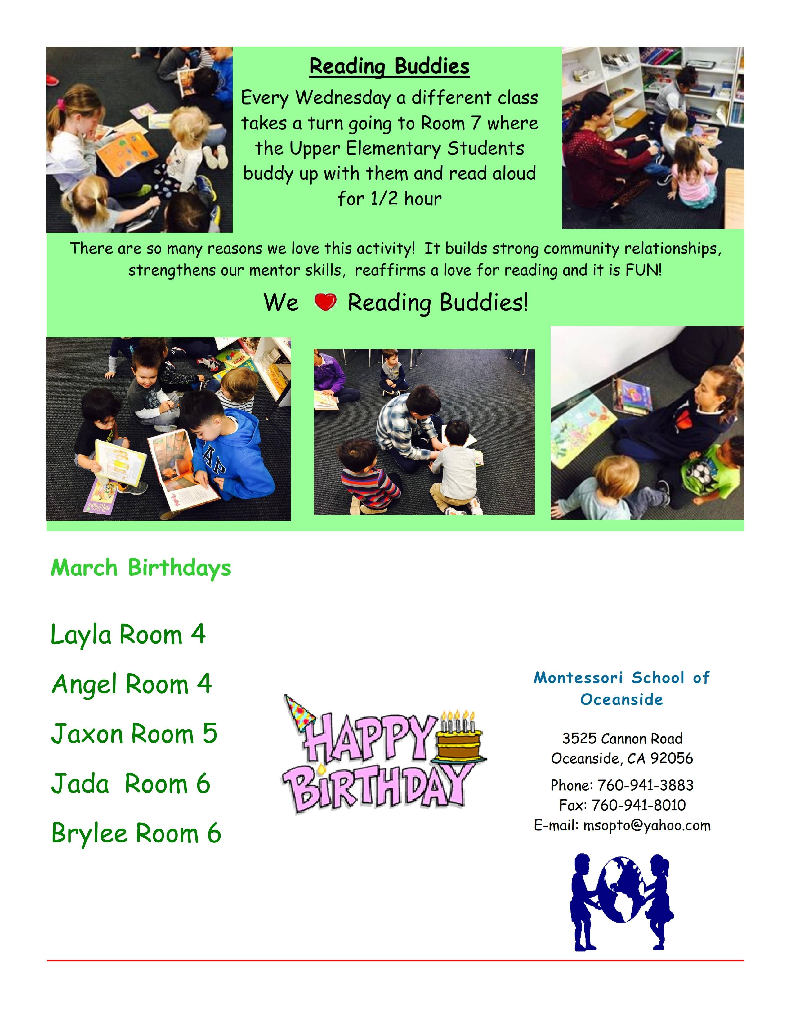 MSO March 2017 Newsletter. Reading Buddies