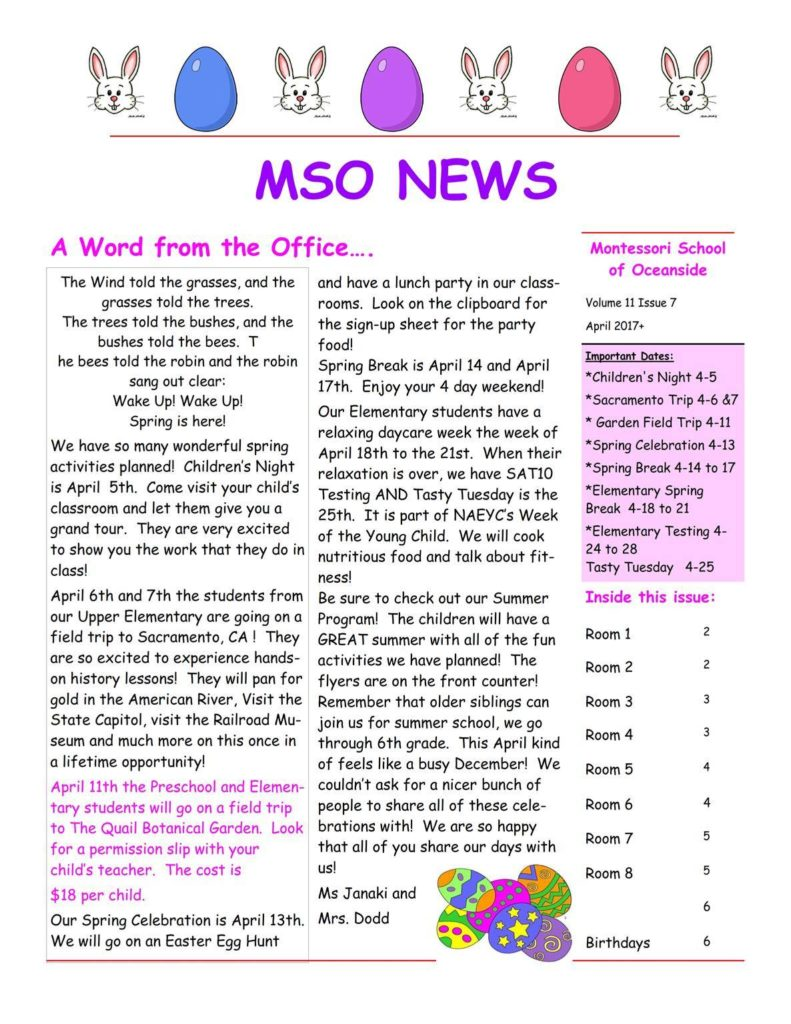 MSO April 2017 Newsletter. A Word from the Office