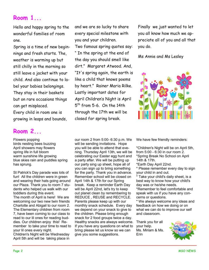 MSO April 2017 Newsletter. Room 1 and Room 2