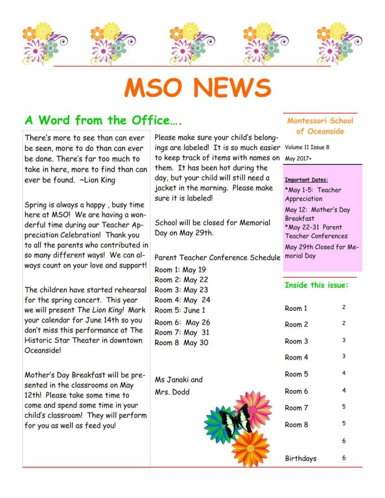 MSO May 2017 Newsletter. A Word from the Office