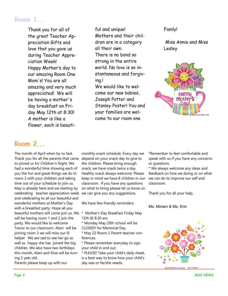 MSO May 2017 Newsletter. Room 1 and Room 2