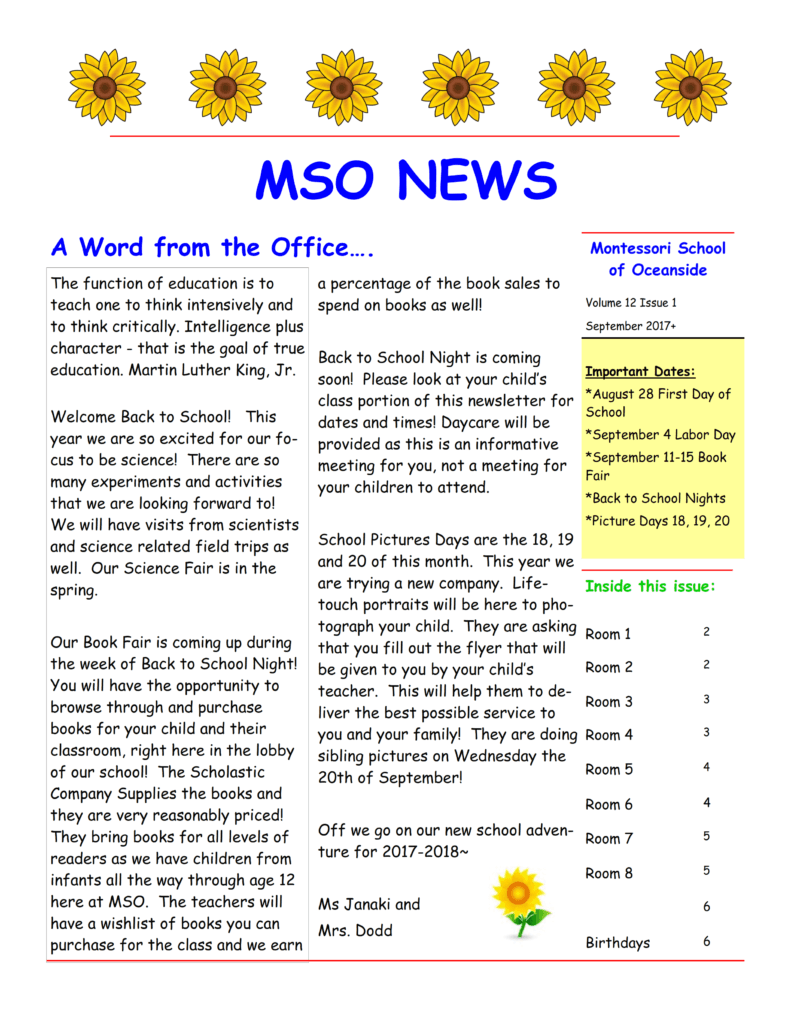 MSO September 2017 Newsletter. A Word from the Office