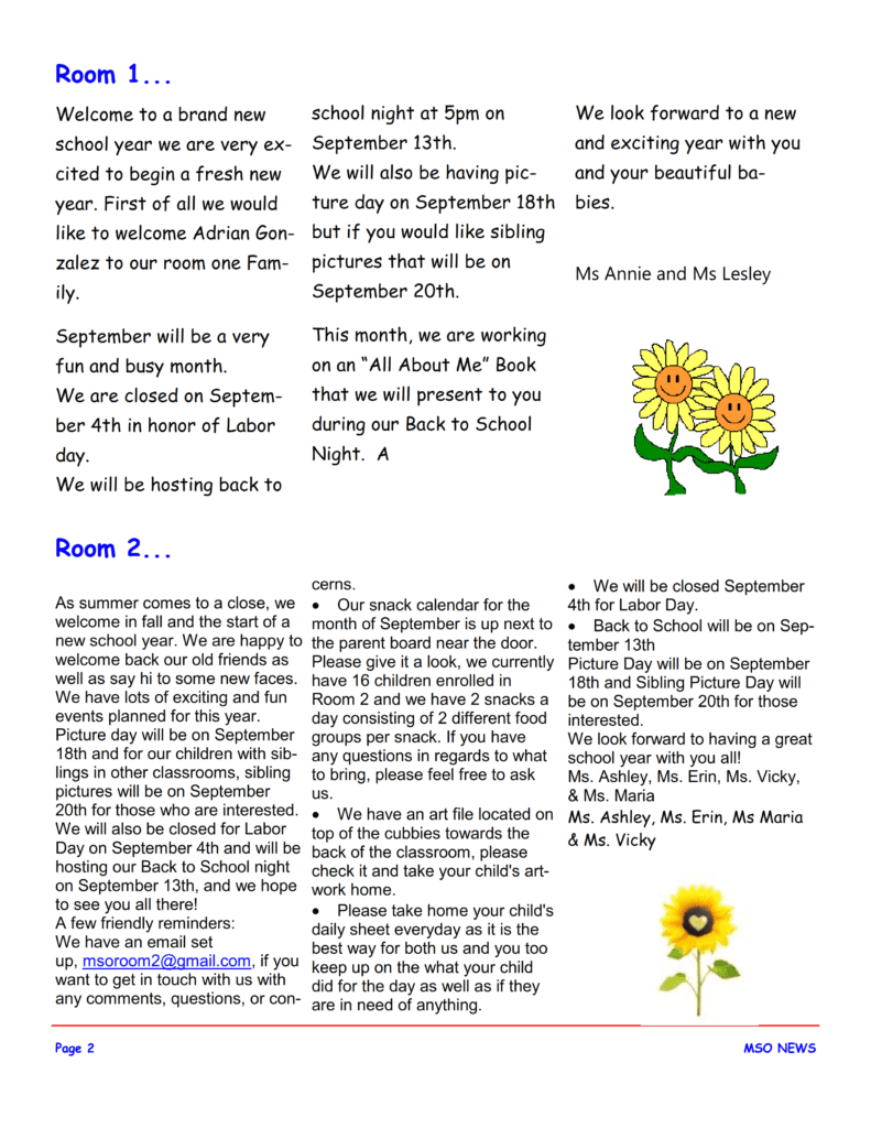 MSO September 2017 Newsletter. Room 1 and Room 2