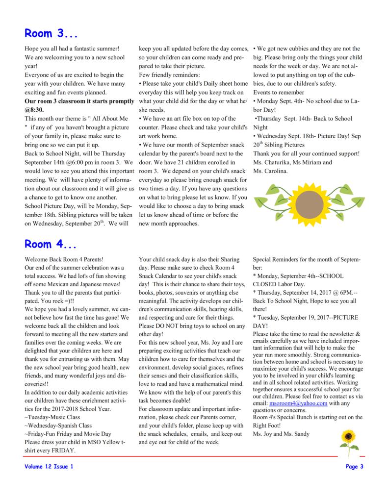 MSO September 2017 Newsletter. Room 3 and Room 4