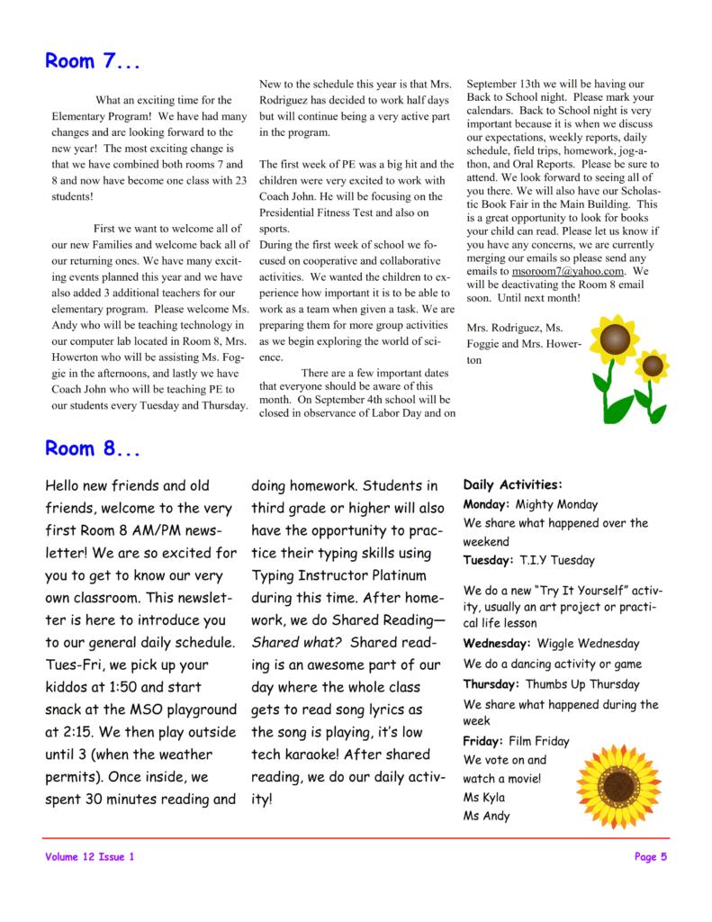 MSO September 2017 Newsletter. Room 7 and Room 8