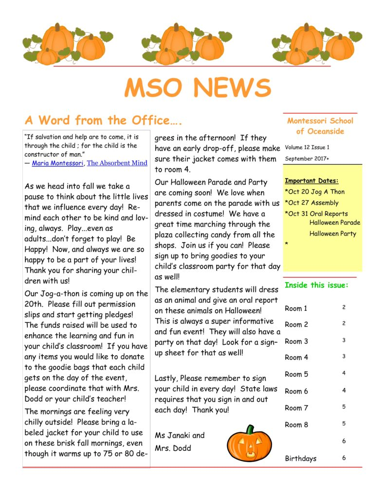 MSO October 2017 Newsletter. A Word from the Office