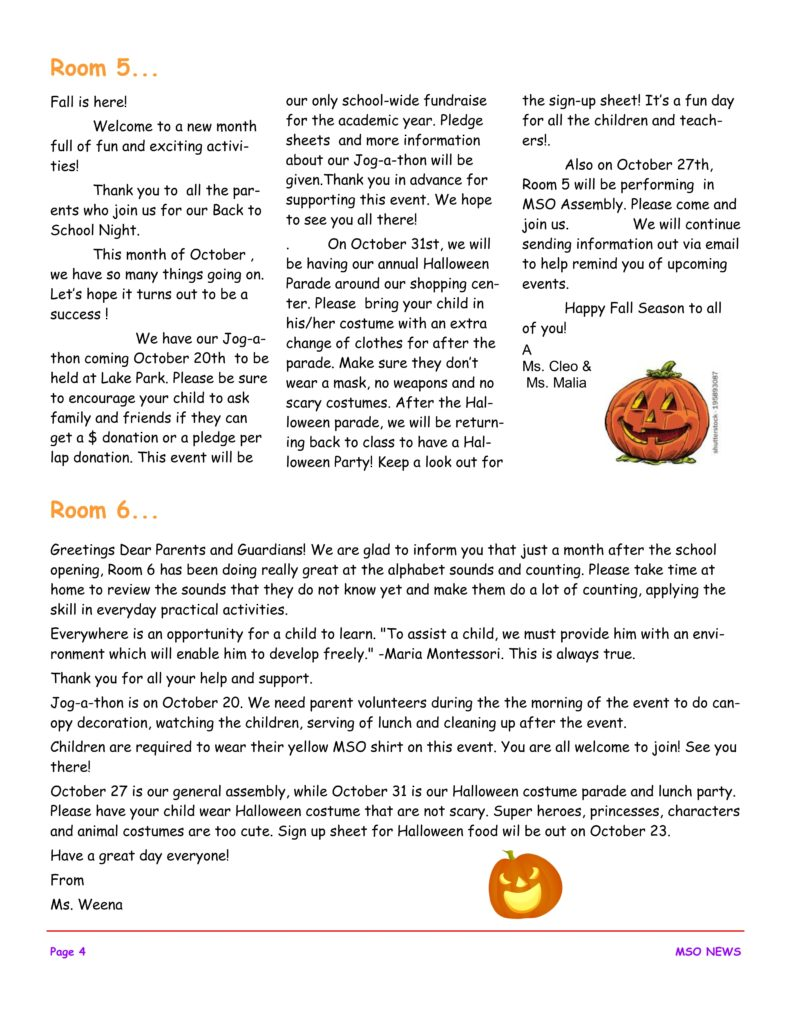 MSO October 2017 Newsletter. Room 5 and Room 6