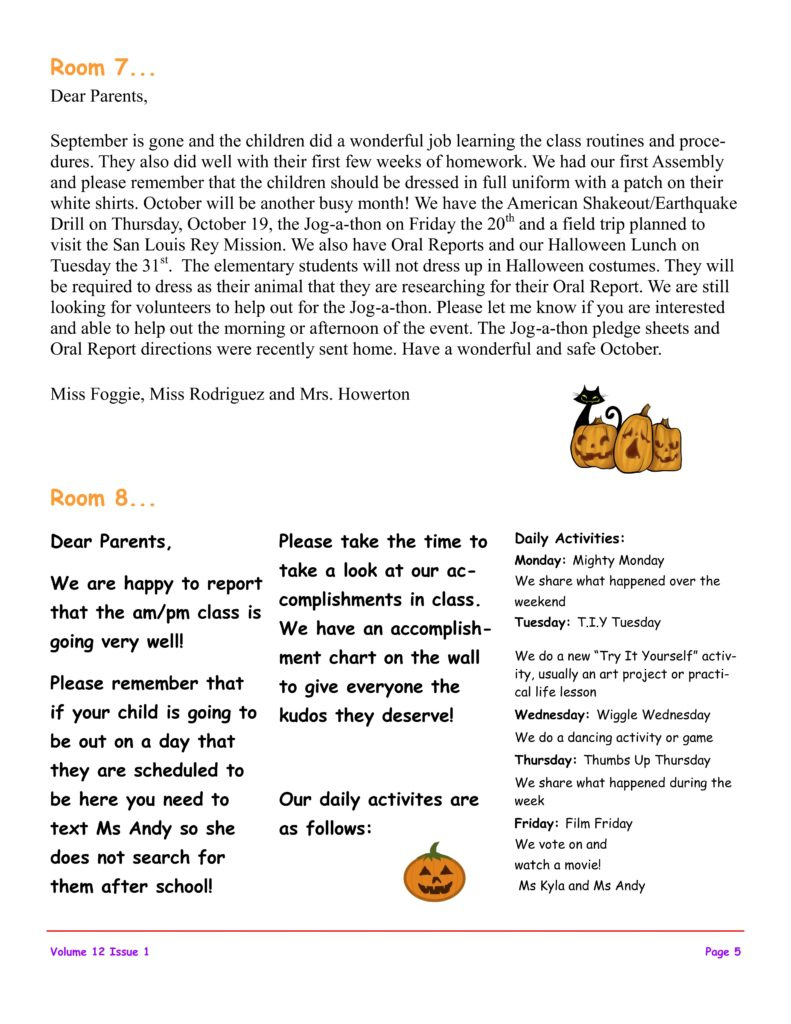 MSO October 2017 Newsletter. Room 7 and Room 8