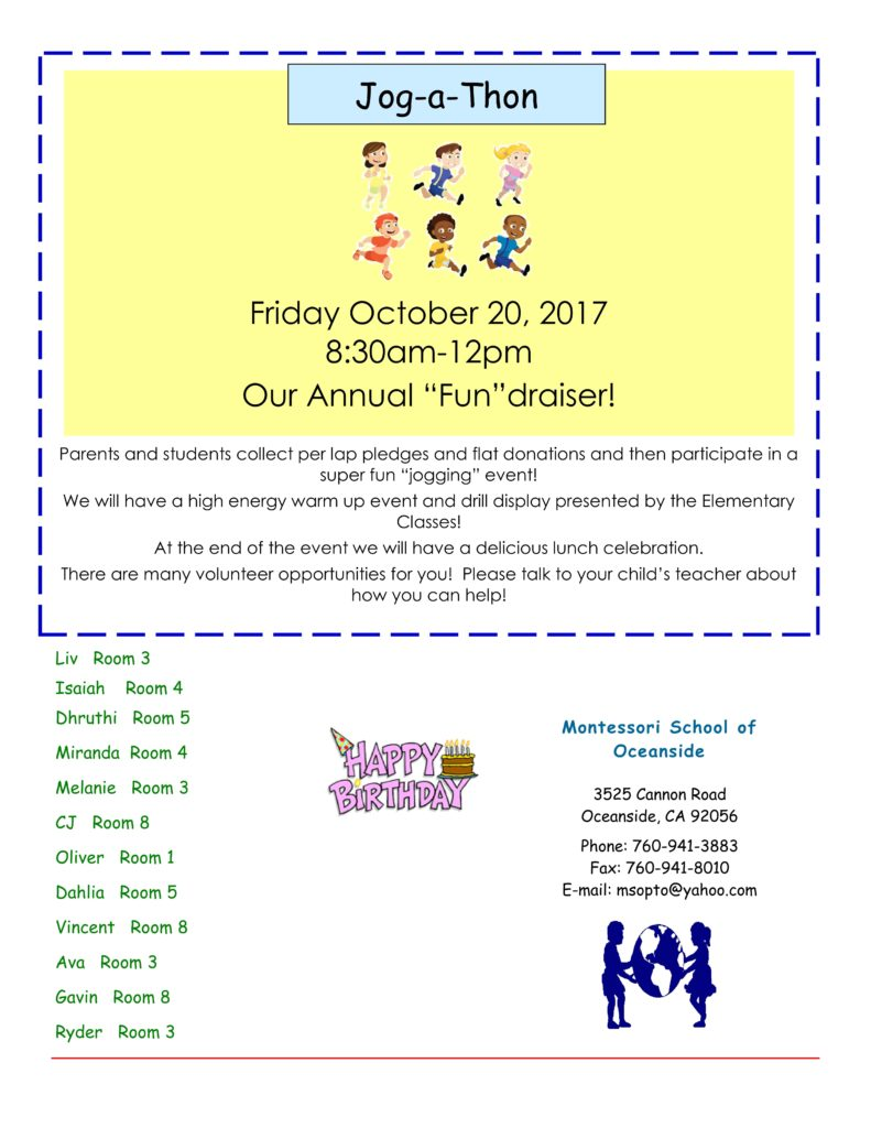 MSO October 2017 Newsletter. Jog-a-Thon