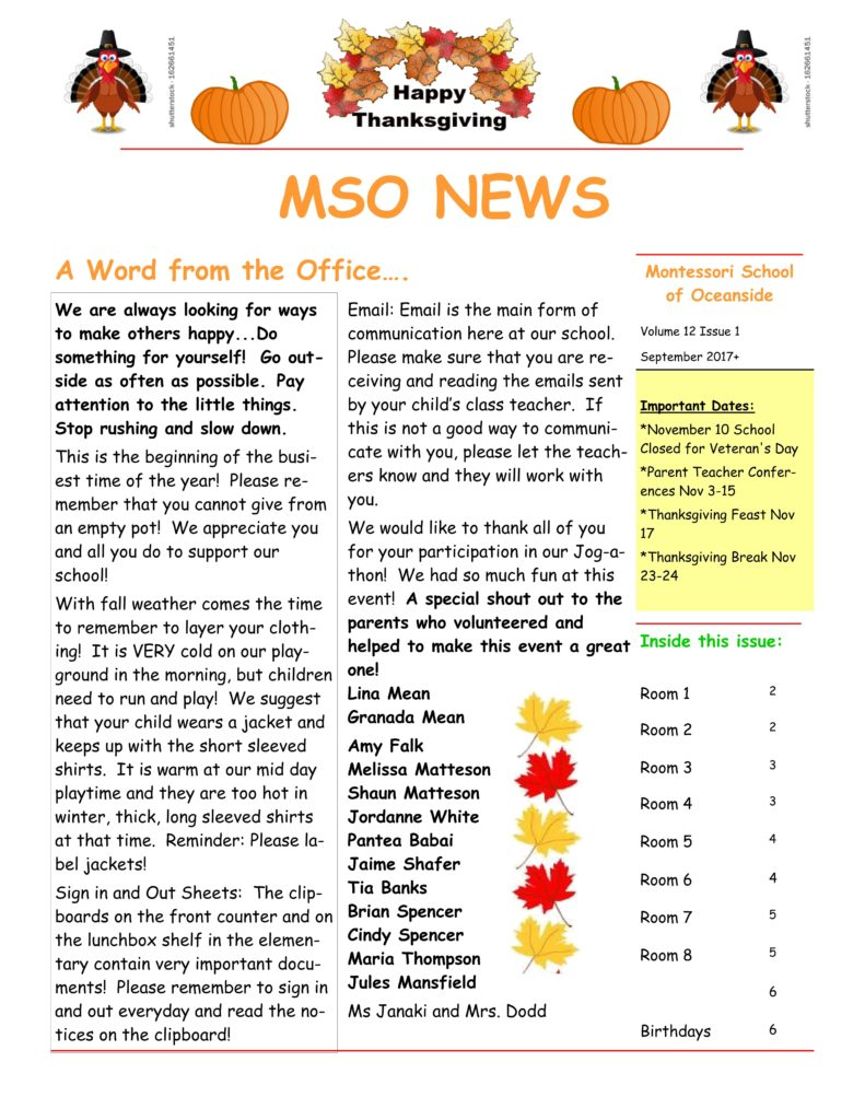 MSO November 2017 Newsletter. A Word from the Office