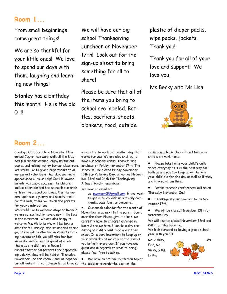 MSO November 2017 Newsletter. Room 1 and Room 2