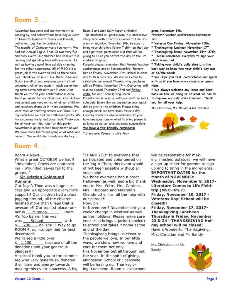 MSO November 2017 Newsletter. Room 3 and Room 4