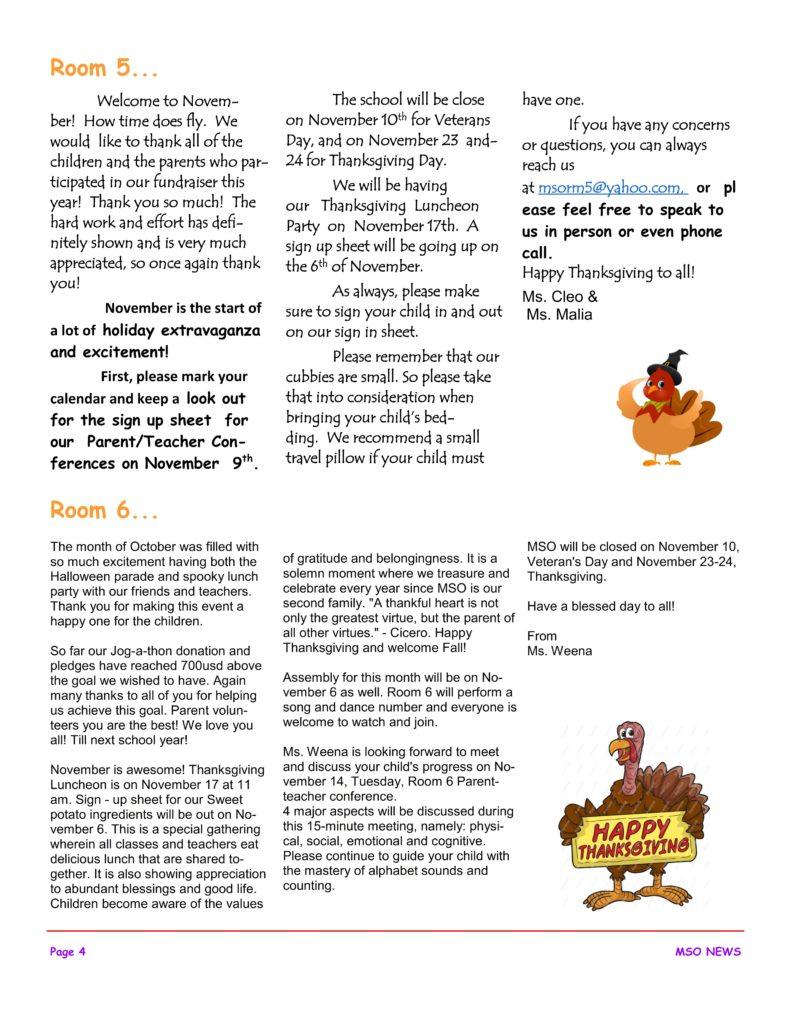 MSO November 2017 Newsletter. Room 5 and Room 6
