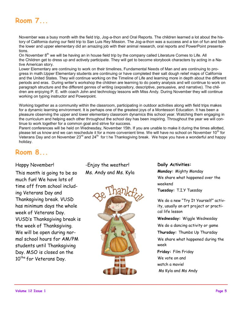 MSO November 2017 Newsletter. Room 7 and Room 8