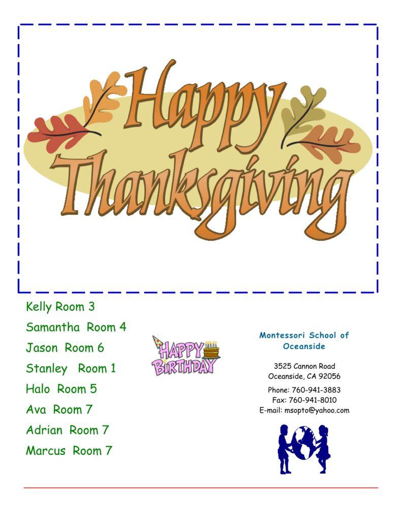 MSO November 2017 Newsletter. Happy Thanksgiving