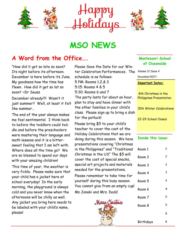 MSO December 2017 Newsletter. A Word from the Office