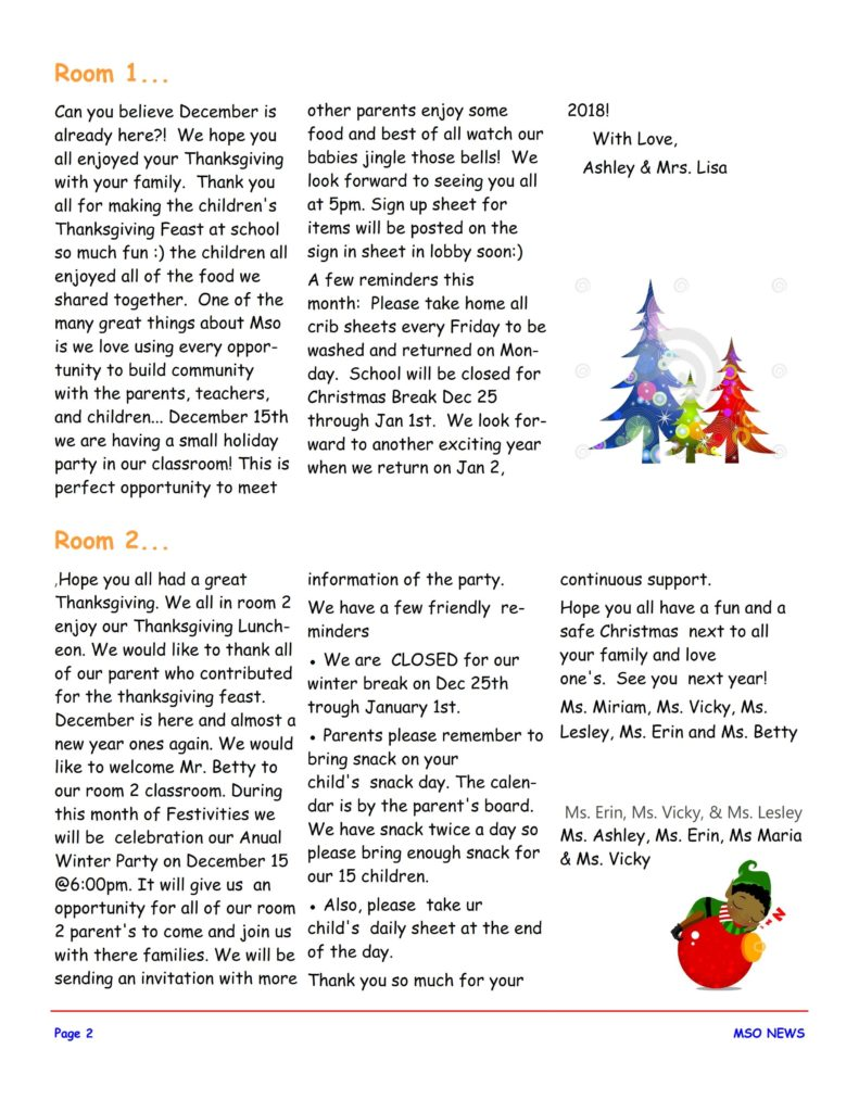 MSO December 2017 Newsletter. Room 1 and Room 2