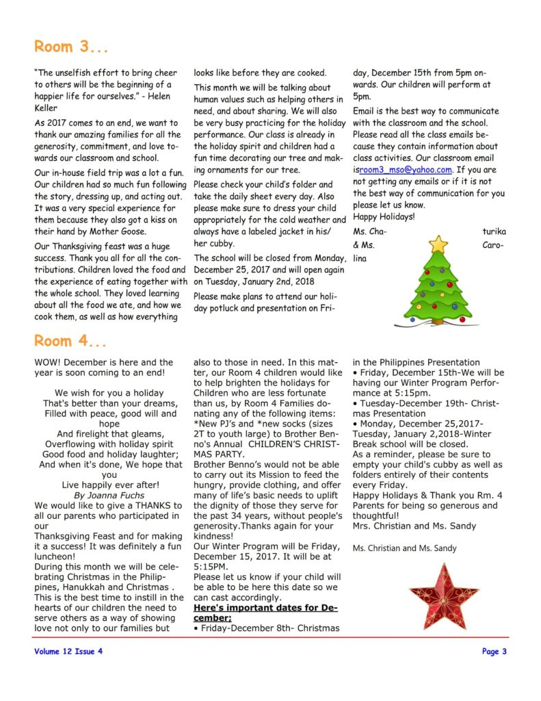 MSO December 2017 Newsletter. Room 3 and Room 4