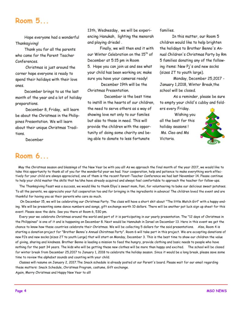MSO December 2017 Newsletter. Room 5 and Room 6