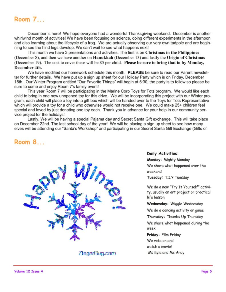 MSO December 2017 Newsletter. Room 7 and Room 8