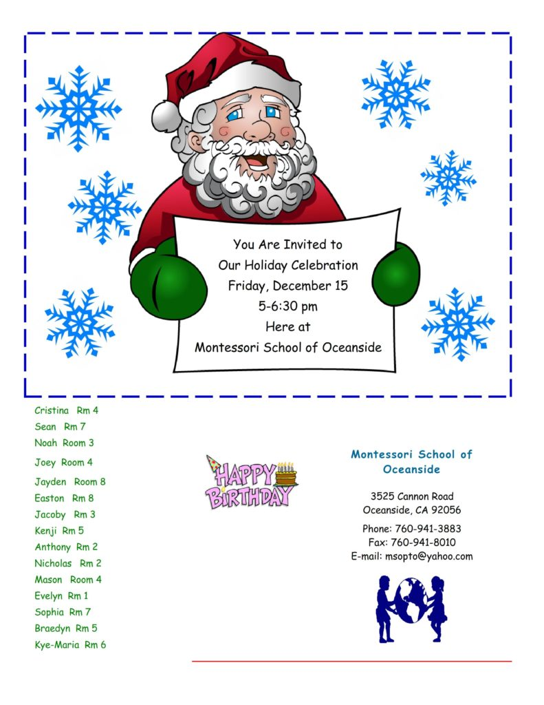 MSO December 2017 Newsletter. Holiday Celebration Friday. December 15