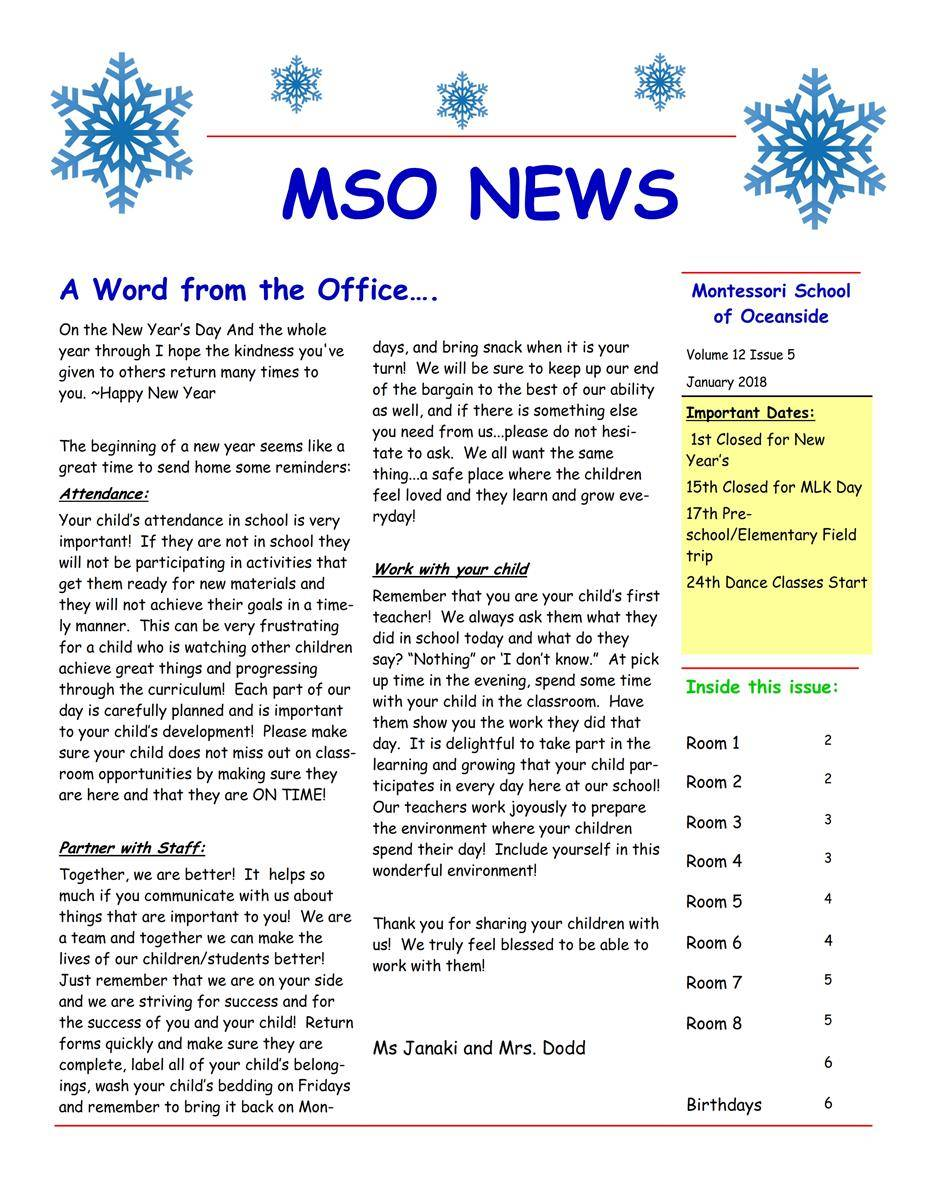 MSO January 2018 Newsletter. A Word from the Office