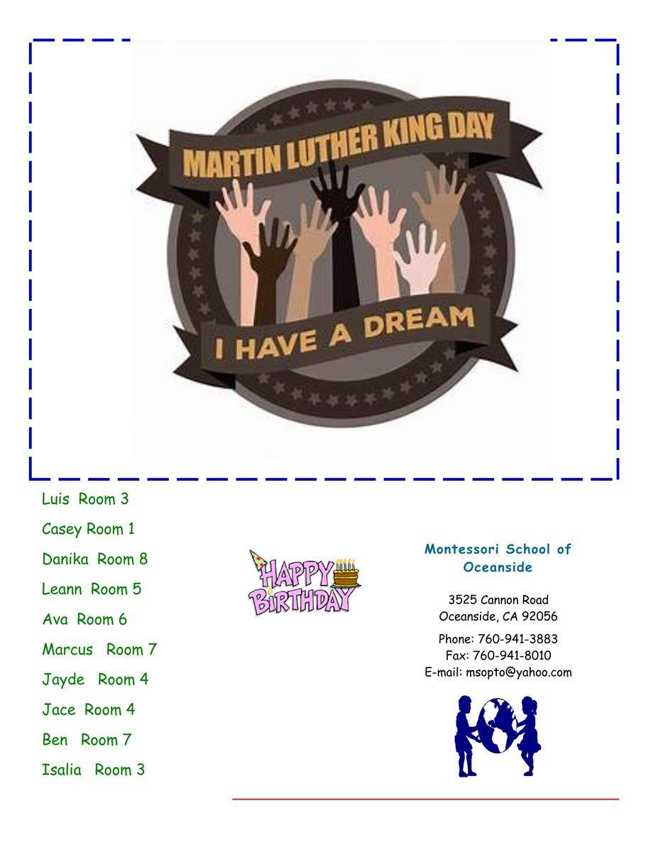 MSO January 2018 Newsletter. Martin Luther King Day