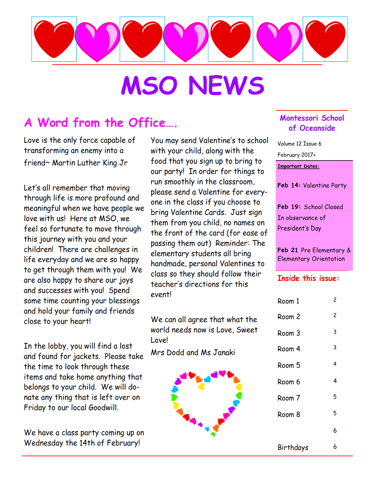 MSO February 2018 Newsletter. A Word from the Office