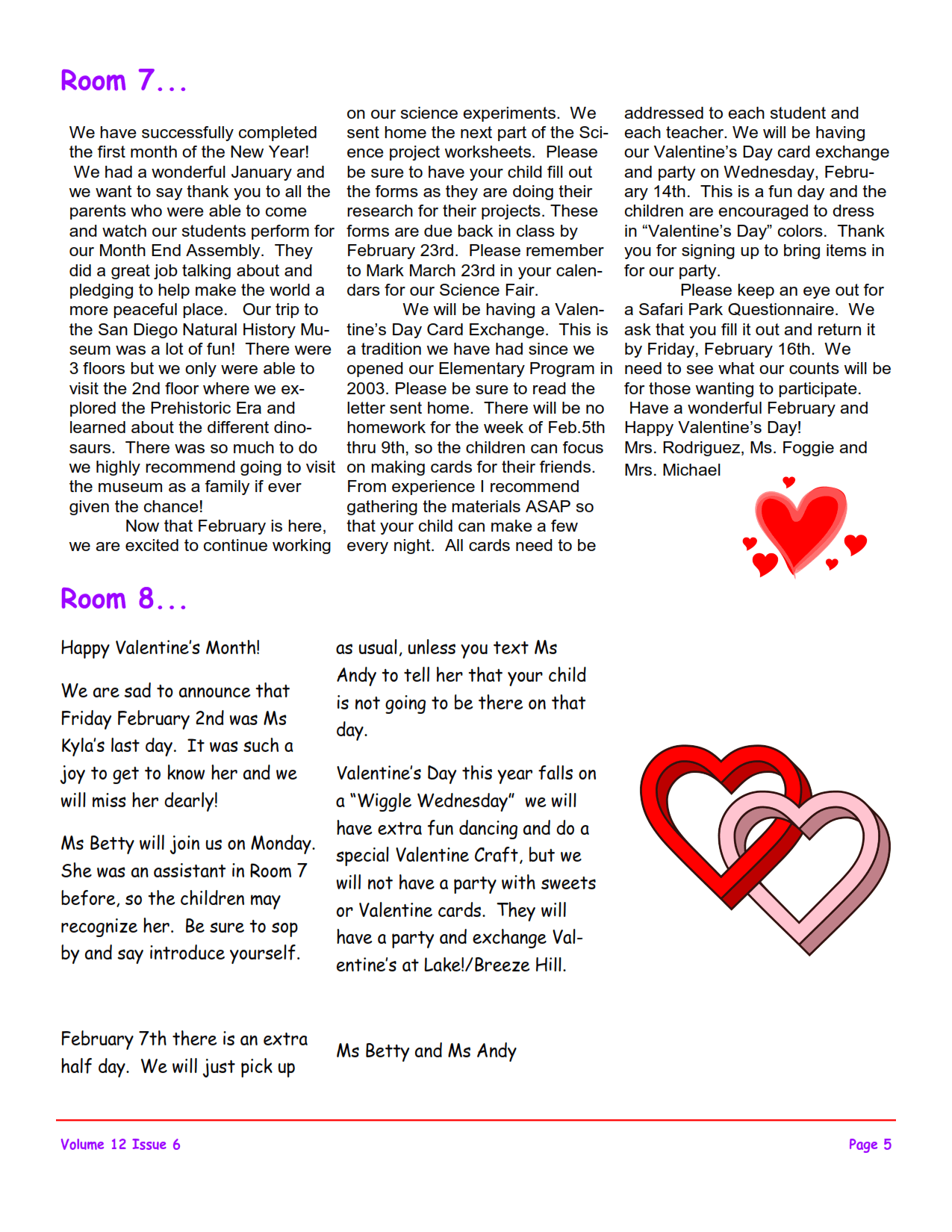 MSO February 2018 Newsletter. Room 7 and Room 8