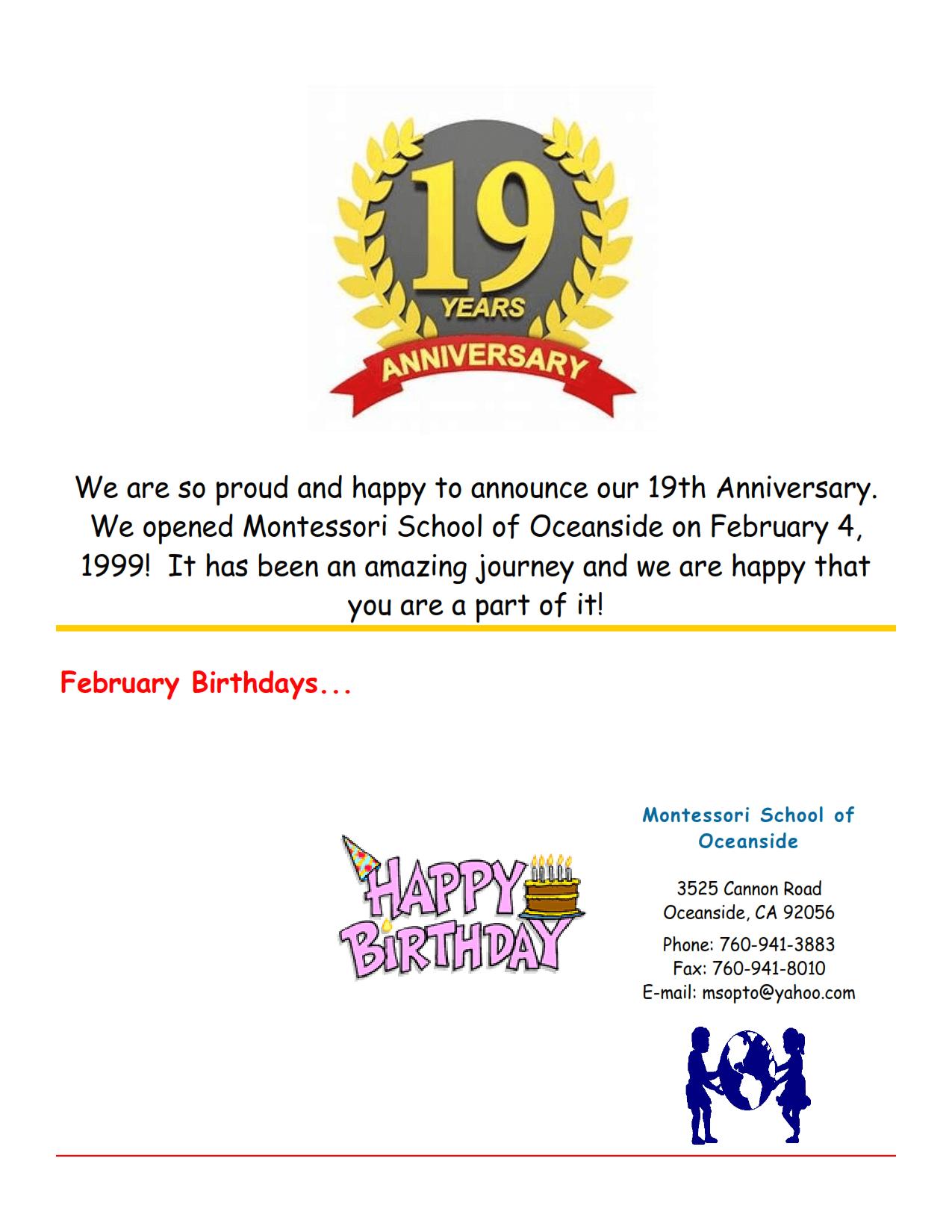 MSO February 2018 Newsletter. 19 years anniversary