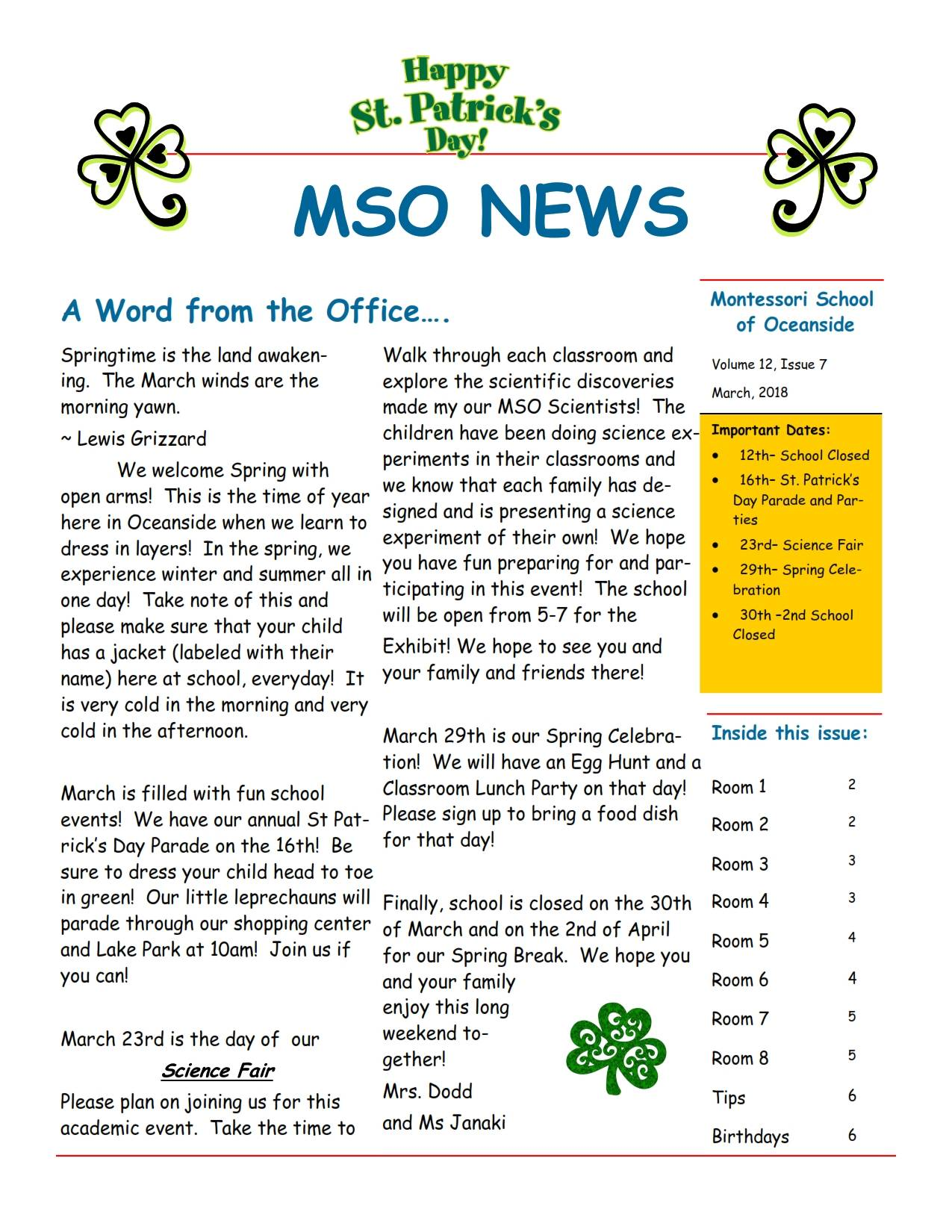 MSO March 2018 Newsletter. A Word from the Office