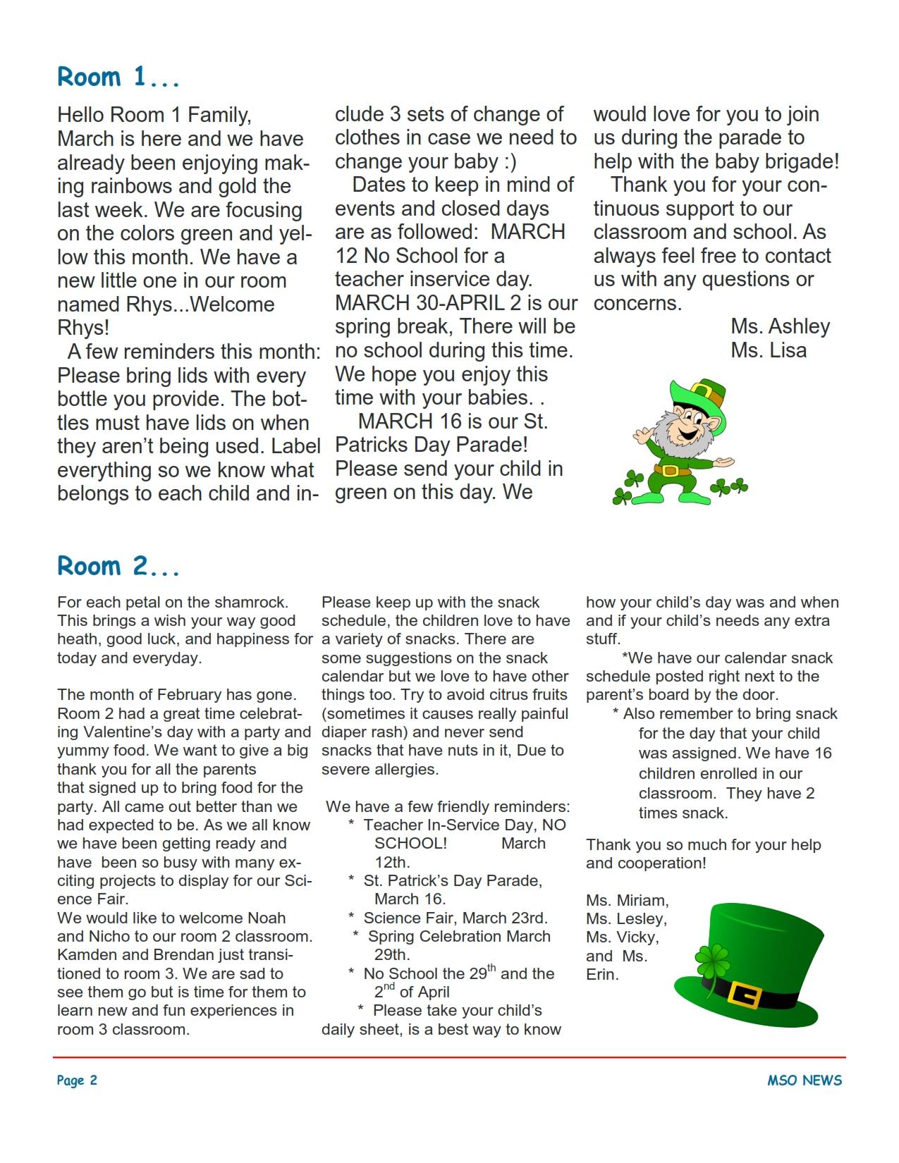 MSO March 2018 Newsletter. Room 1 and Room 2